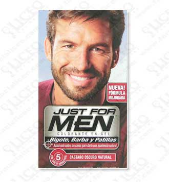 JUST FOR MEN BIGOTE Y BARBA GEL COLORANTE MORENO 30 CC